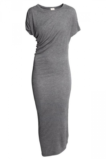 Gray Slim Ladies Irregularly Crew Neck Vintage Midi Dress