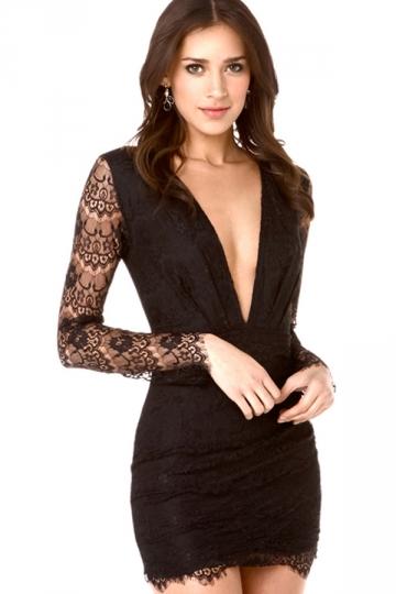 Black Womens Deep V-neck Low-cut Lace Pleated Mini Clubwear Dress