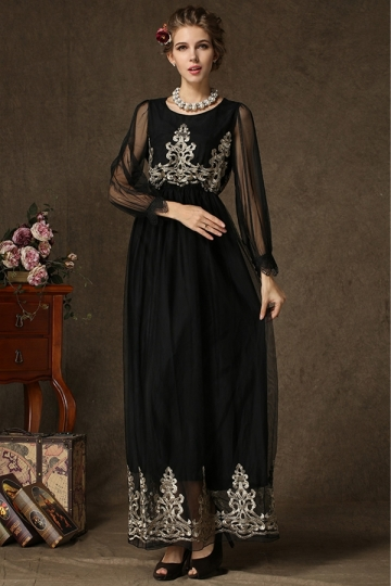 Black Trendy Womens Mesh Embroidered Long Sleeve Maxi Dress