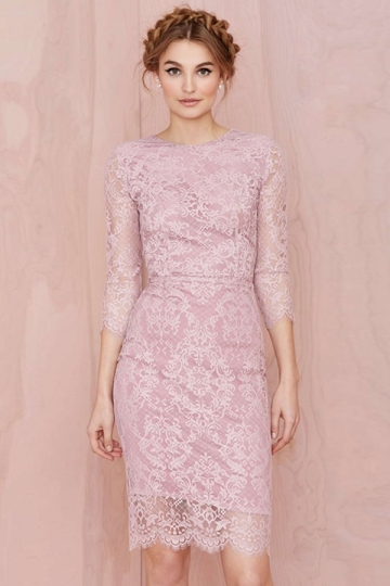 Pink Elegant Womens Lace Boat Neck Long Sleeve Cocktail Dress ...