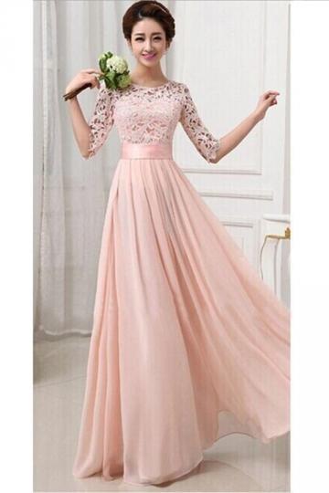 Womens Lace Chiffon Pleated Half Sleeve Maxi Evening Dress Pink