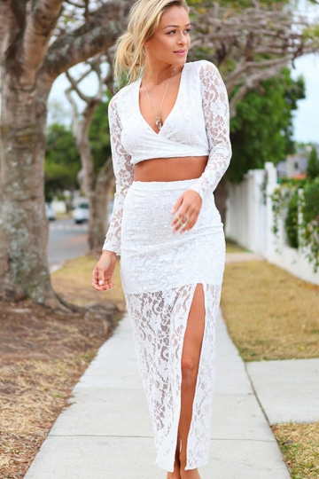 White Ladies V-neck Crop Top Lace Slit Maxi Skirt Suit - PINK QUEEN