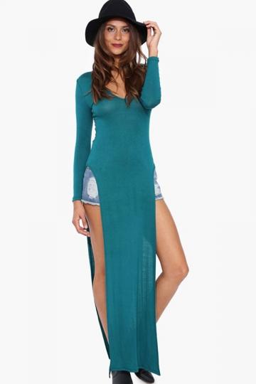 Green Charming Ladies V-neck Slit Long Sleeve Maxi Dress