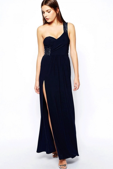 Navy Blue Pretty Ladies Sequin One Shoulder Slit Maxi Prom Dress