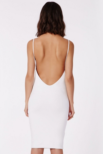 White Sexy Womens Spaghetti Strap Backless Sleeveless Midi Dress