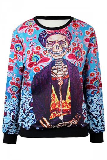 Ladies Crew Neck Pullover Acala Flower Skeleton Printed Sweatshirt