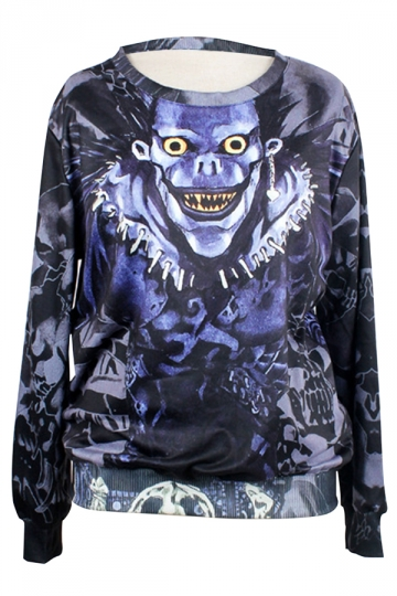 Womens Crew Neck Jumper  Cartoon Death Note Ryuk Printed Sweatshirt
