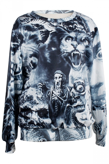 Gray Womens Crew Neck Pullover Skull Wolf Skeleton Printed Sweatshirt