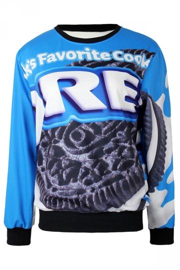 Blue Ladies Pullover Crew Neck Oreo Cookies Printed Sweatshirt