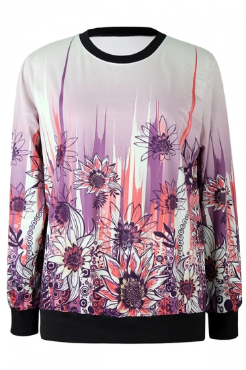 Beige Ladies Crew Neck Pullover Sunflower Printed Sweatshirt