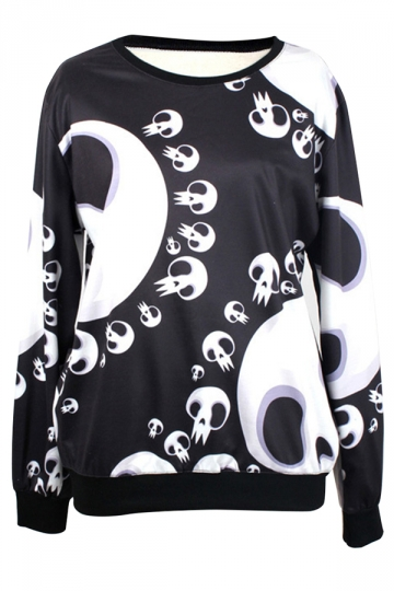 Black Chic Womens Crew Neck Cartoon Skull Jumper Printed Sweatshirt
