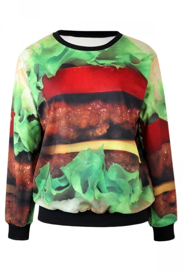 Green Womens Crew Neck Pullover Hamburger Printed Sweatshirt