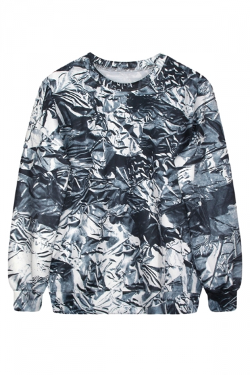 Gray Womens Crew Neck Long Sleeve Silver Paper Printed Sweatshirt