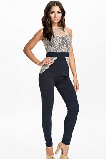 Navy Blue Pretty Ladies Crew Neck Lace Patchwork Jumpsuit