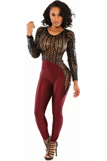 Womens Sexy Hollow Out Long Sleeve Patchwork Jumpsuit Ruby