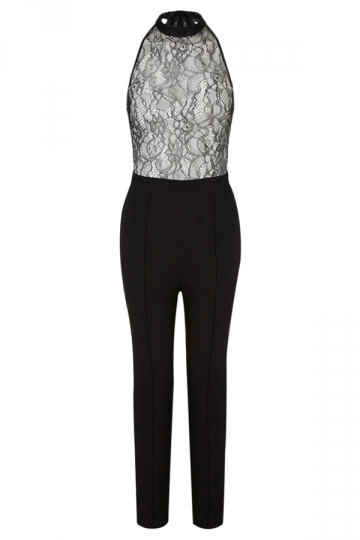 Black Halter Sexy Ladies Lace Fashion Slim Backless Bodysuit