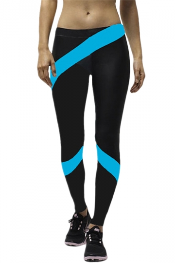 Blue Ladies Fashion Patchwork Sport Leggings