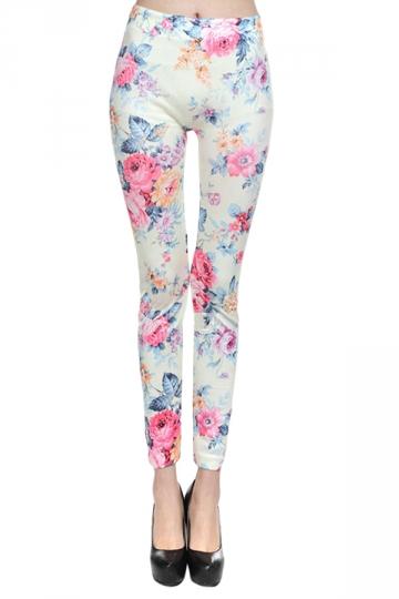 White Fancy Ladies Roses Printed Floral Classic Leggings