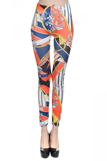 Orange Womens Casual Doodle Printed Slim Leggings