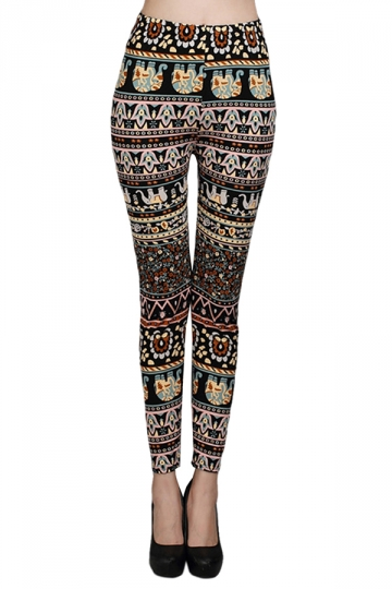 Black Classic Ladies Cool Elephant Printed Tribal Leggings