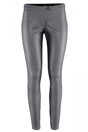 Gray Cool PU Leather Womens Plain Slim Leggings