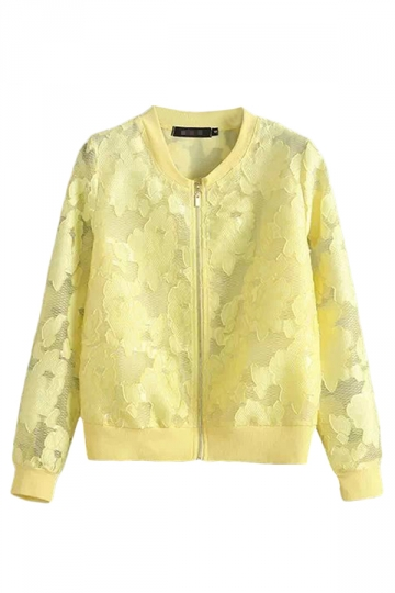 Yellow Chic Ladies Crew Neck Long Sleeve Lace Zipper Jacket