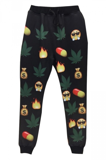 Black Emoji Printed Cute Womens Chic Leisure Pants