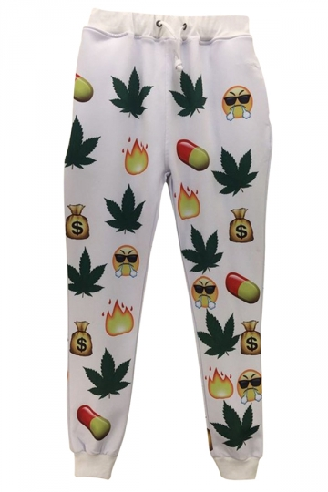 White Emoji Printed Cute Womens Chic Leisure Pants