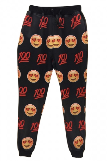 Black Funny Womens Emoji Printed Casual Leisure Pants