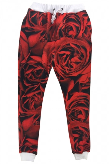 Red 3D Roses Printed Womens Casual Chic Leisure Pants