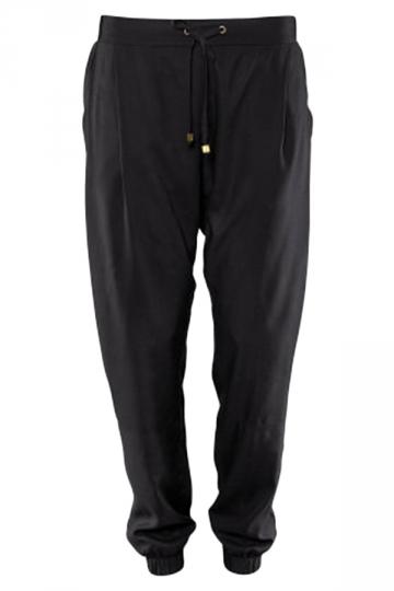 Black Loose Ladies Plain Casual Leisure Pants