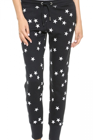 Black Ladies Cute Stars Printed Classic Leisure Pants