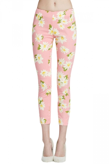Pink Womens Cute Flowers Printed Slim Floral Leggings
