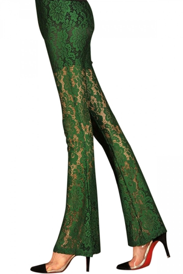 Green Sexy Womens Lace Sheer Flare Leggings