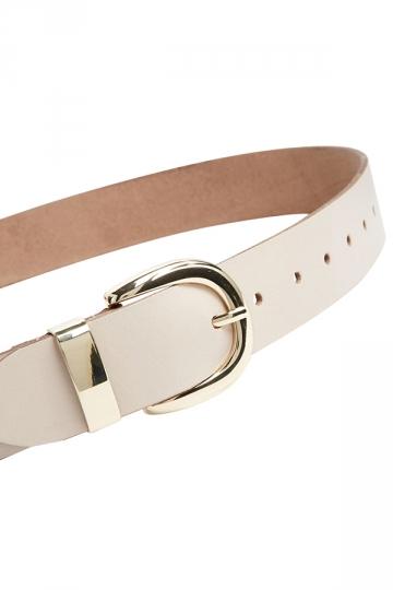White Pretty Womens Plain PU Metal Hasp Belt