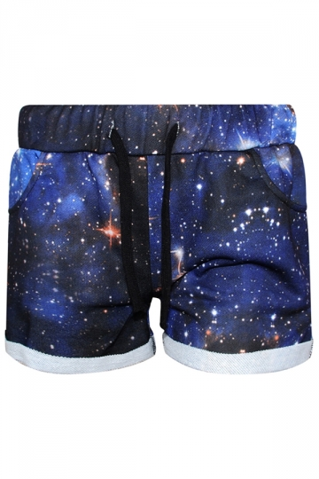 Navy Blue Fashion Womens Galaxy Printed Mini Shorts