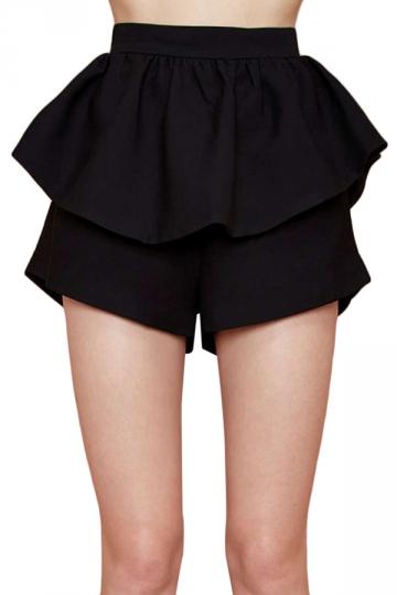 Black Ruffle Ladies Chic Mini Skort