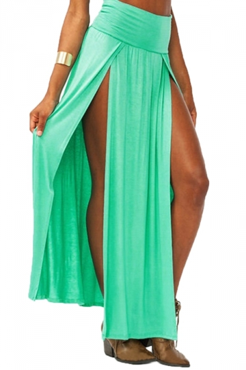 Green Sexy Womens High Waisted Slit Maxi Skirt