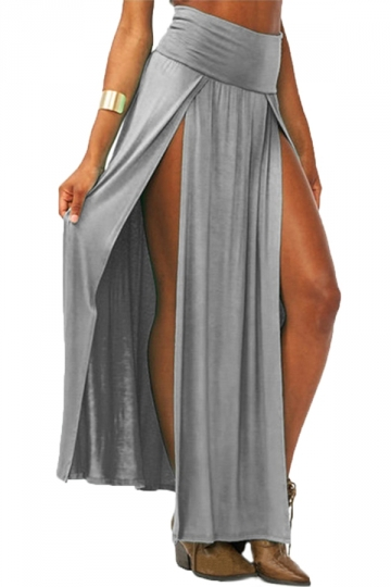 Gray Sexy Womens High Waisted Slit Maxi Skirt
