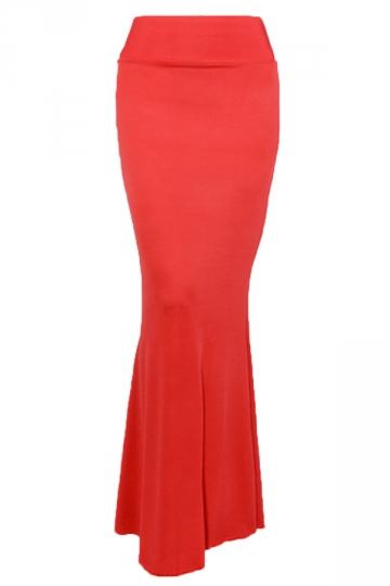 Red Charming Ladies Pure Mermaid Maxi Skirt