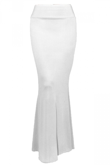 White Charming Ladies Pure Mermaid Maxi Skirt