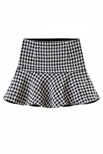 Black Sexy Ladies Houndstooth Pleated High Waist Mini Skirt