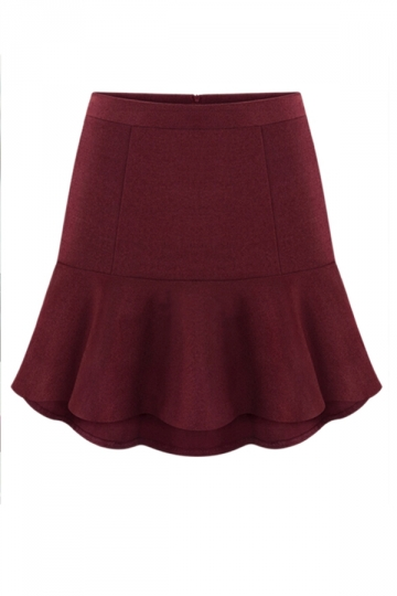 Ruby Chic Ladies Wool High Waist Fishtail Pleated Skirt