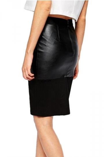 Black Trendy Womens PU Patchwork High Waist Leather Skirt