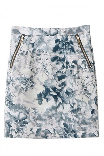 Navy Blue Charming Ladies Ink Floral Printed Pencil Skirt