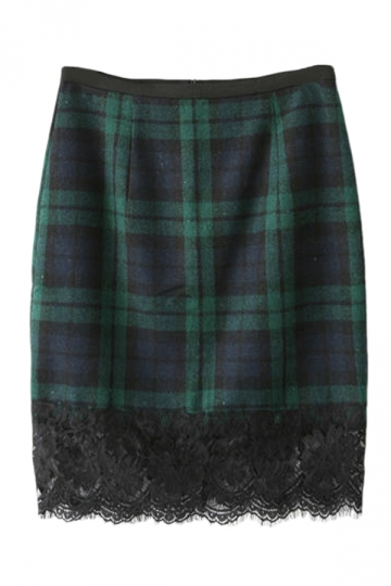Green Charming Womens Lace Patchwork Plaid Pencil Skirt