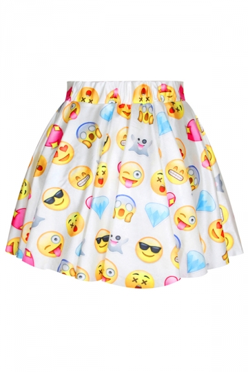White Womens Cute Emoji Printed Funny Pleated Skirt