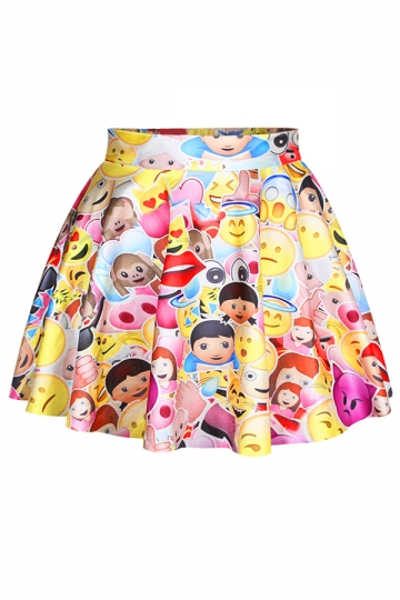 Red Colorful Ladies Funny Emoji Printed Cute Pleated Skirt