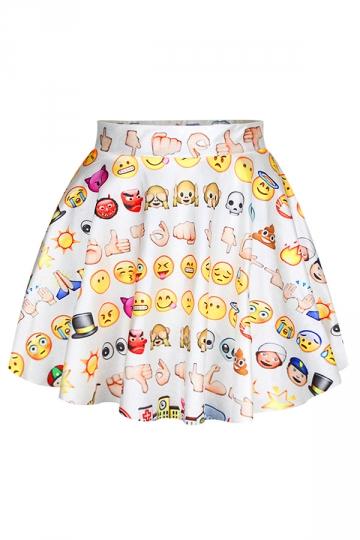White Funny Emoji Printed Womens Fashion Pleated Skirt