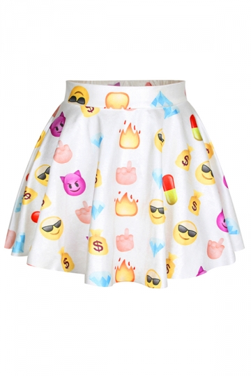 White Fashion Womens Emoji Printed Cute Pleated Skirt